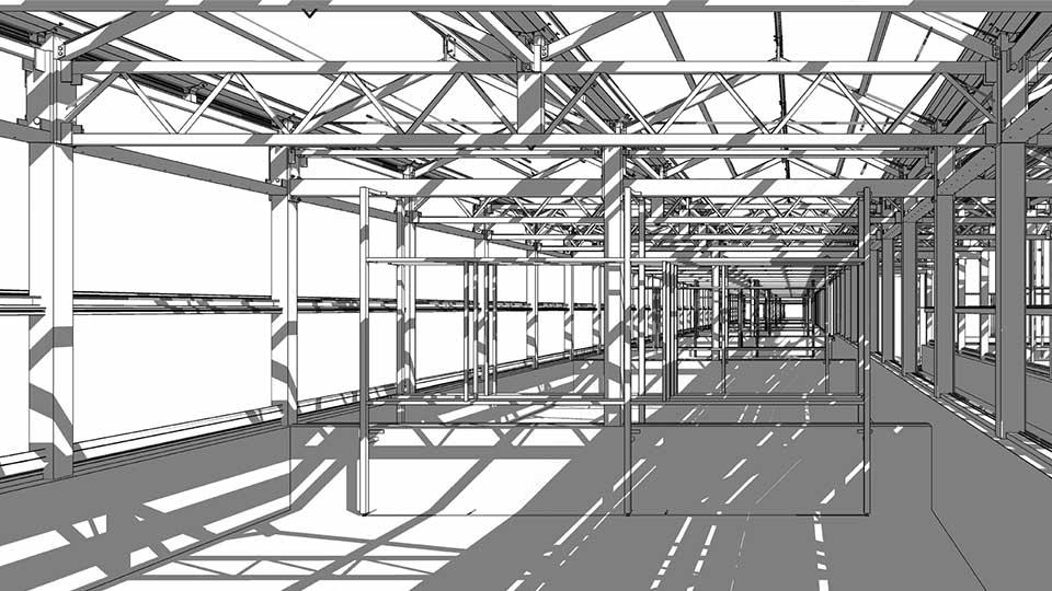 工場の鉄骨骨組をREVITでモデリングイメージ
