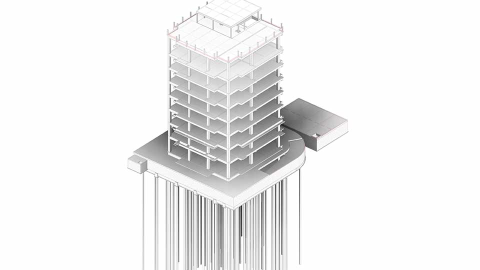 オフィスビル構造をREVITでモデリングイメージ