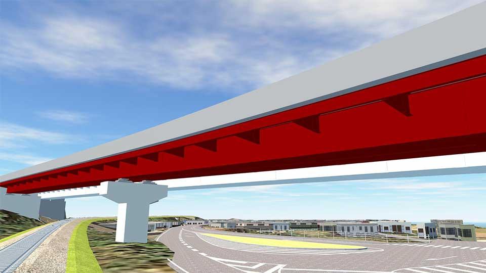 鋼橋上下部工のCIMモデルイメージ